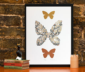 Golden Butterfly Screen Print - posters & prints