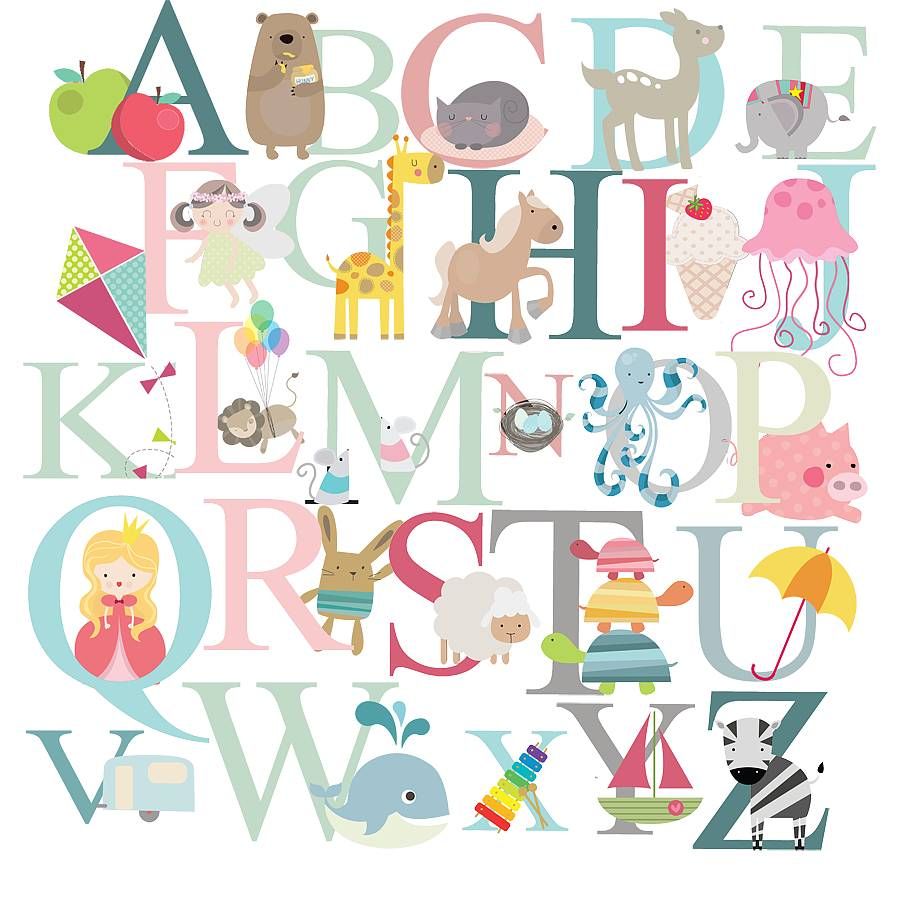 Marvelous Alphabet Fabric Wall Stickers