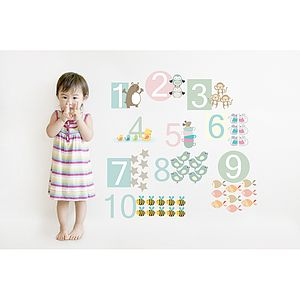 Number Fabric Wall Stickers - children's room