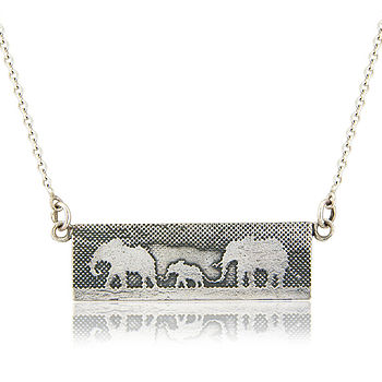 Personalised Sterlng Silver Elephant Family Necklace