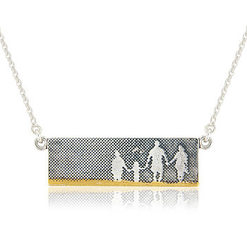 Family On The Beach Sterling Silver Necklace