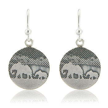 Silver Mother And Baby Elephant Drop Earrings