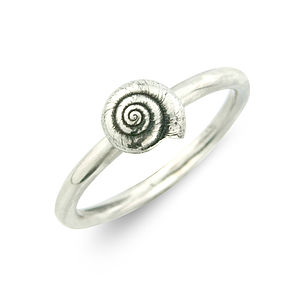 Little Round Silver Shell Ring