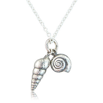Two Little Silver Seashells Necklace
