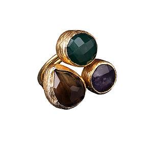 Jeylan Quartz, Emerald And Amethyst Ring - rings