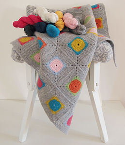 Luxury Granny Square Crochet Blanket Kit - baby's room