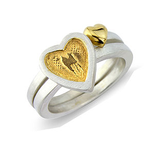 Hearts Of Gold Silver Stack Rings