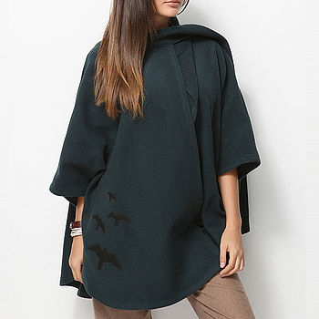 Wrap Around Poncho Shawl Petrol