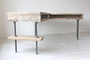 Stuart Industrial Reclaimed Board Corner Desk - furniture