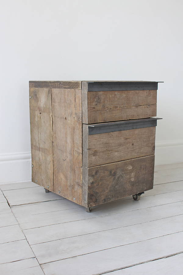 Katy Reclaimed Wood Drop File Stationery Drawer Unit
