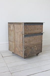 Katy Reclaimed Wood Drop File Stationery Drawer Unit - kitchen