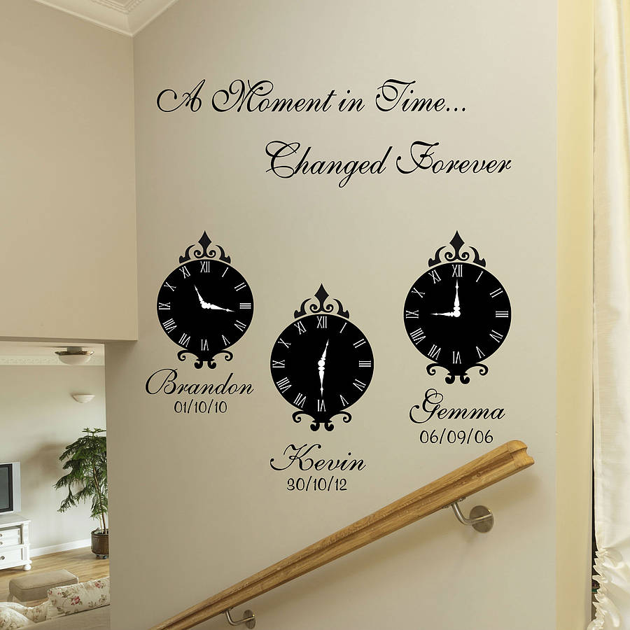 Wall Art Decals Clock : A moment in time wall art stickers by quotes