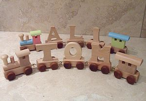 Wooden Train Letters - cars & trains