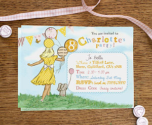 Girl's Birthday Party Invitations - children's party invitations