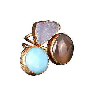 Jeylan Amazonite, Sardonyx And Druzy Ring - rings