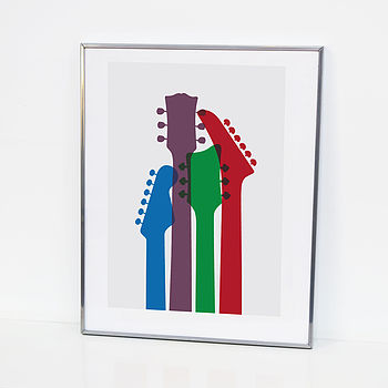 overlapping guitar head print