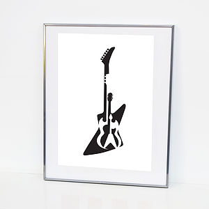 Music Illustration Gibson Guitar Print A3
