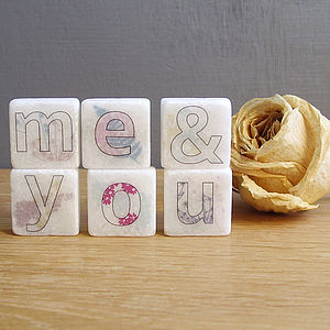 'Me And You' Decorative Marble Letter Tiles - storage & organising