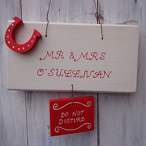 Personalised Mr & Mrs Door Sign - wedding gifts