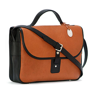 Featured In Vogue Tan/Black Leather Satchel - bags & purses