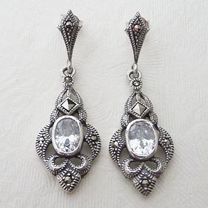 Silver Art Deco Inspired Marcasite Earrings By Katherine Swaine Notonthehighstreet