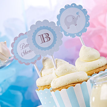 Baby Shower Blue Cupcake Toppers