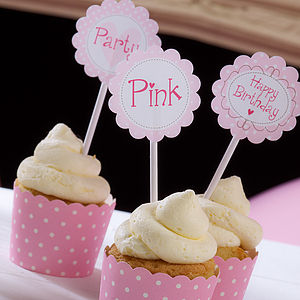 Pink Cupcake Toppers - cake decorations & toppers