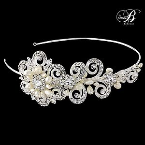 Cecilia Crystal And Pearl Headband - wedding jewellery