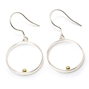 Silver Large Circle With Gold Ball Dangle Earrings