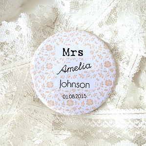 Personalised Floral New Bride Wedding Mirror - bridal beauty