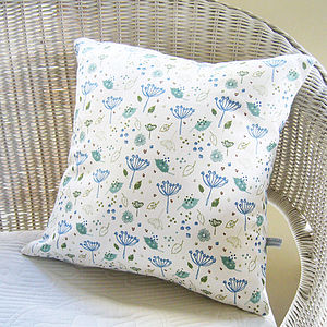 Blue Parsley Linen Cushion - patterned cushions