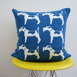 Fox Terrier Knitted Lambswool Cushion - patterned cushions