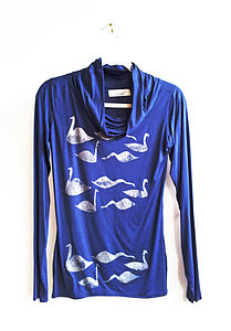 Electric Blue And Silver Swan Jumper - jumpers & cardigans