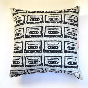Retro Cassette Tape Knitted Cushion - patterned cushions