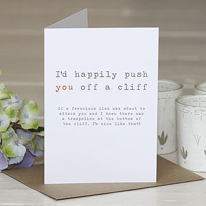 'Push You Off A Cliff' Greetings Card - wedding, engagement & anniversary cards