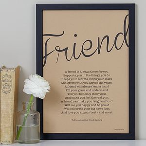 My Friend Poem Print Vintage Style