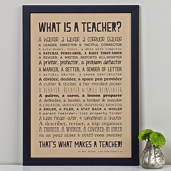Personalised Teacher Print With Teacher Poem Kraft