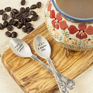 Personalised Silver Plated Coffee Spoon Set - coffee lover
