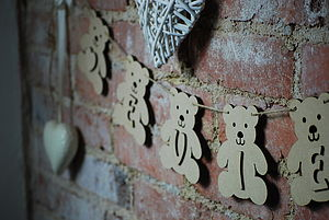 Personalised Teddy Wooden Bunting X Five