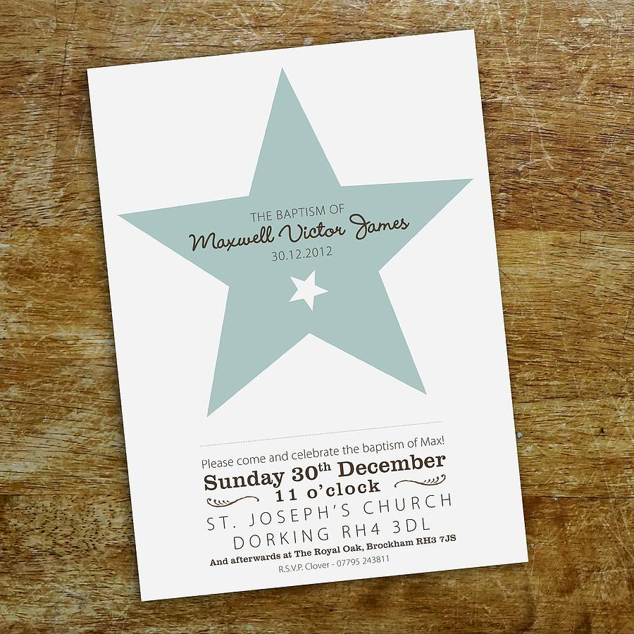 star christening invitation by tigerlily wedding stationery