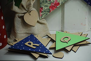 Personalised Triangle Flags Wooden Bunting - children's room