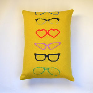 Spectacles Knitted Lambswool Cushion - patterned cushions