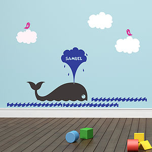 Personalised Whale Sea Wall Sticker Set - decorative accessories