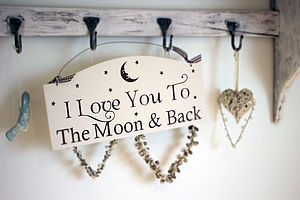 'Love You To The Moon And Back' Hanging Sign - children's decorative accessories