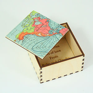Map Location Cufflink Or Jewellery Keepsake Box - children's storage
