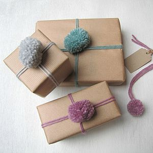 Pom Pom Wrapping Paper Set - wedding wrap