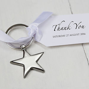 Star Keyring And Personalised Tag Favours - wedding favours