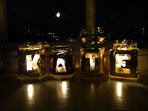 Personalised Name Tea Light Holders - table decorations