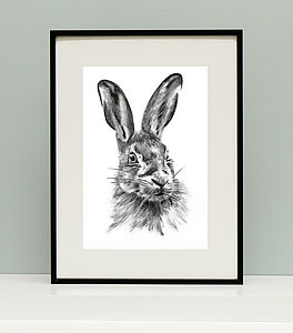 Hare Charcoal Giclee Print - posters & prints