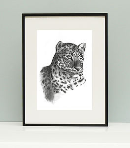Leopard Charcoal Giclee Print - posters & prints
